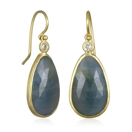 Blue Sapphire Slice Earring