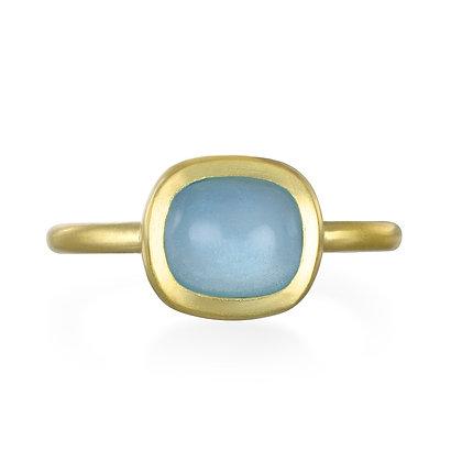 Milky Aqua Bezel Ring