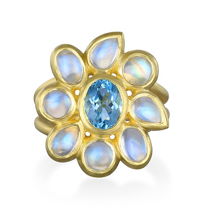 Aquamarine Moonstone Daisy Ring