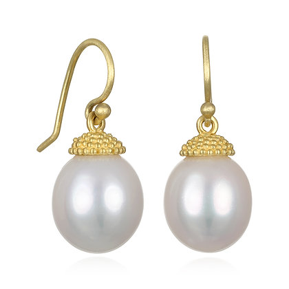 Freshwater Pearl Earrings with Granulation Cap