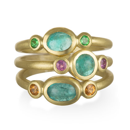 Paraiba Tourmaline and Tsavorite Stack Rings