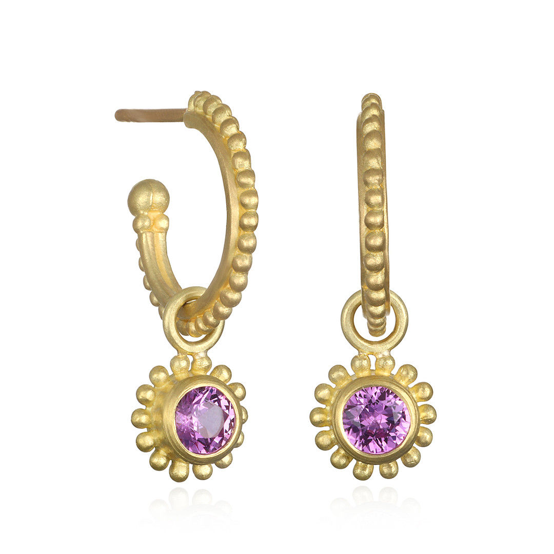 pink tourmaline drops hoop earrings