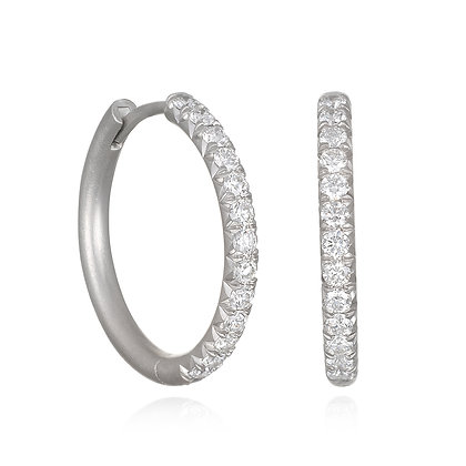 Platinum Micro Pave Hoops - Large