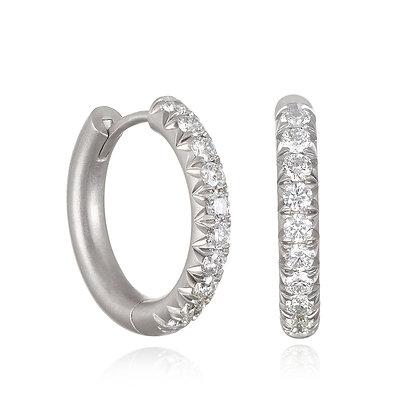 Platinum Micro Pave Diamond Hoops-Medium