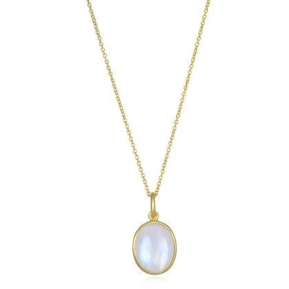 Oval Rainbow Moonstone Pendant Necklace