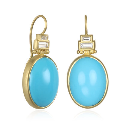 Turquoise and Diamond Baguette Earrings