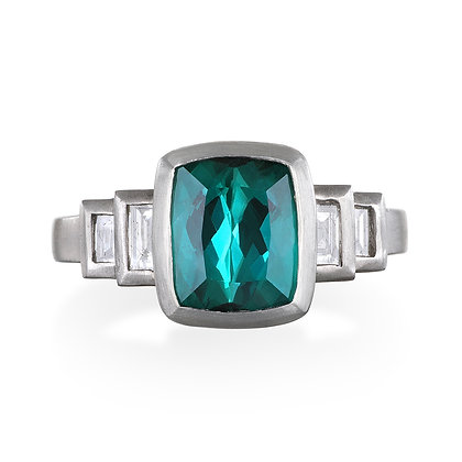 Platinum Blue Green Tourmaline Ring