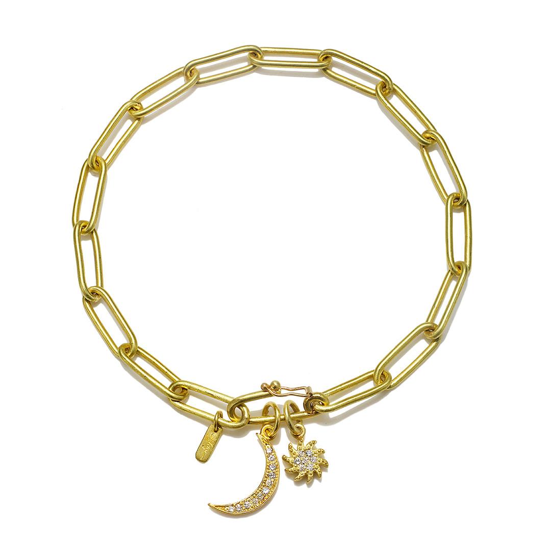 gold charm bracelet paper clip