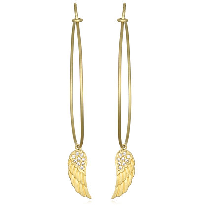 Diamond Angel Wing Hoops