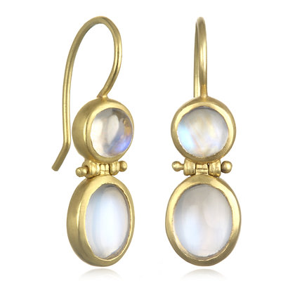 Double Ceylon Moonstone Hinged Earrings
