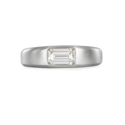 Matte Platinum Emerald Cut Diamond Engagement Ring