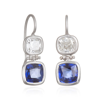 Matte Platinum Diamond and Sapphire Earrings