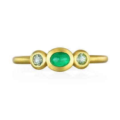 Emerald and Peridot Stack Ring