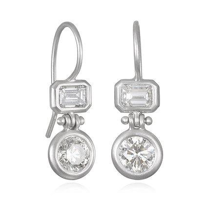 Double Diamond Platinum Hinge Earrings