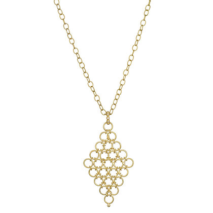 18K Gold Diamond Mesh Pendant