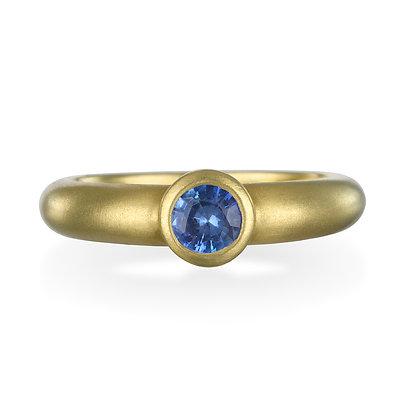 Blue Ceylon Sapphire Bezel Ring