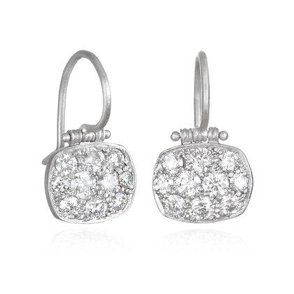Matte Platinum Pave Diamond Chiclet Earrings