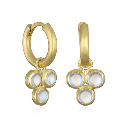 Huggy Hoops with Blue Moonstone Drops