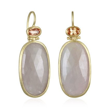 Pink Sapphire Slice Earring