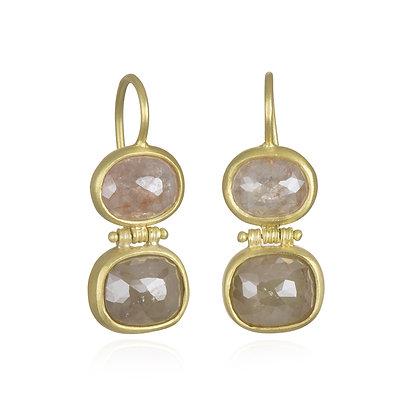 18k Gold Double Hinge Milky Diamond Earrings