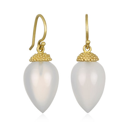 18K Gold Milky Agate Acorn Earrings