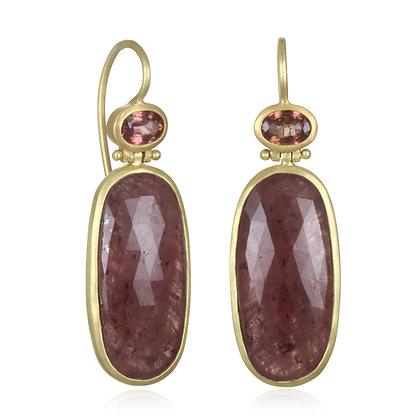 Raspberry Sapphire Slice Earring