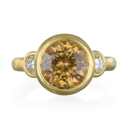 Zircon and Diamond Three-Stone Ring