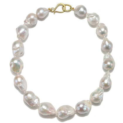 18K Gold White Fresh Water Baroque Pearl Necklace