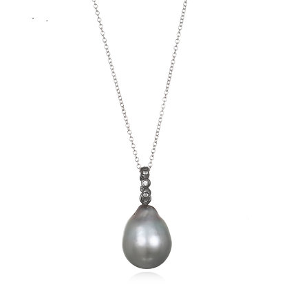 Grey Tahitian Baroque Pearl Pendant Necklace