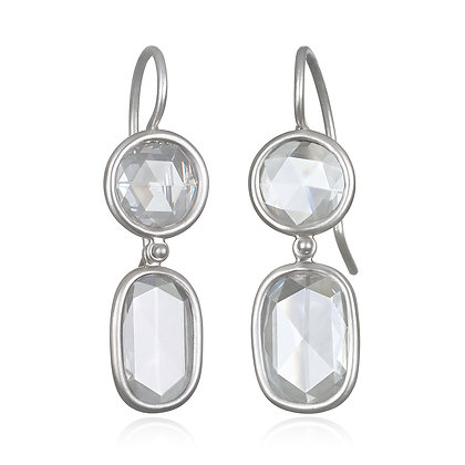 Double Diamond Slice Earrings