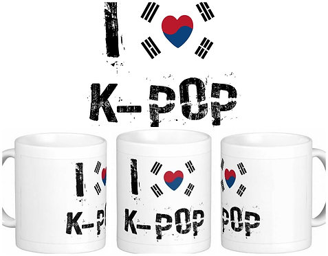 Caneca K-POP - I Love K-POP - Bandeira