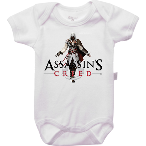Body branco com o personagem e o nome/símbolo do jogo Assassin's Creed