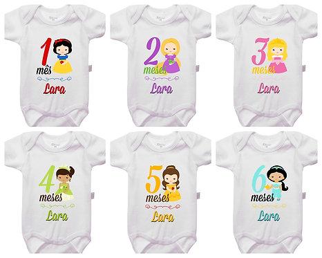 Mêsversário - Princesas - Kit 1 a 6 meses