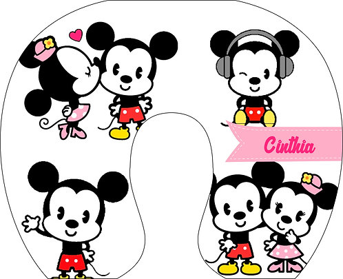 Almofada de Pescoço Mickey e Minnie Cute - Modelo 02