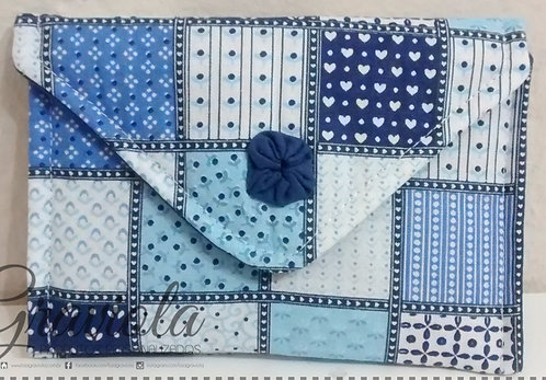 Carteira Básica - Azul + Retalhos