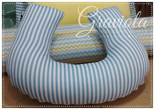 Almofada de Amamentação - Listras Azul
