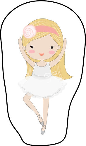 Mini almofada no formato do desenho: uma bailarina branca de cabelos loiro e roupa branca
