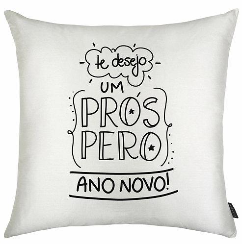 Almofada branca quadrada com a frase Te desejo um próspero Ano Novo em letras decoradas pretas