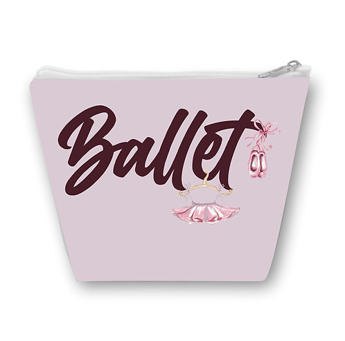 Necessaire Lilás, com a palavra Ballet, um desenho de uma saia de bailarina e uma sapatilha
