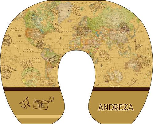 Almofada de Pescoço Mapa Mundi - Modelo 01