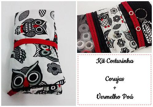Kit Costurinha - Corujas + Vermelho Poá