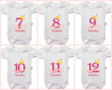 Mêsversário - Coroa Princesa - Kit 7 a 12 meses