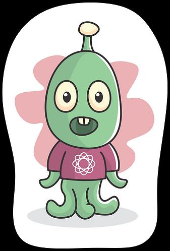 Mini Almofada branca, com desenho de um alienígena ao centro. O formato da almofada segue o contorno do desenho