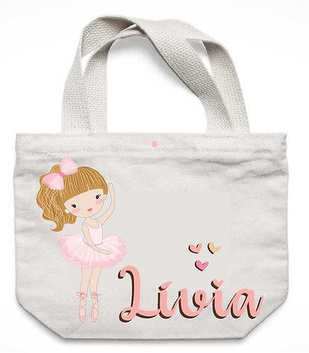 Sacola de tecido, branca, bailarina branca de cabelos alaranjados e o nome a ser personalizado em rosa