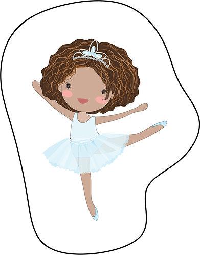 Mini Almofada no formato do desenho: uma bailarina negra de cabelos soltos e vestido azul claro