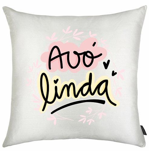 Almofada Quadrada Branca com a frase Avó Linda, com letras decoradas pretas e bordas rosa e amarelo