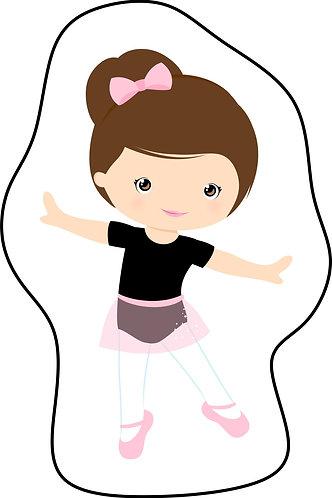 Mini almofada seguindo o formato do desenho: uma menina branca de cabelo castanho vestida de bailarina