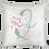 Almofada quadrada branca com a Inicial do nome em verde centralizada, um bouquet de flores rosa e o nome escrito em rosa