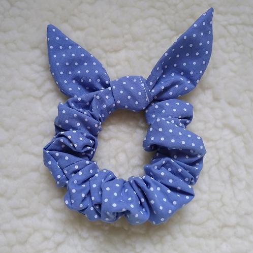 Scrunchie Orelhinhas - Poá Azul Médio
