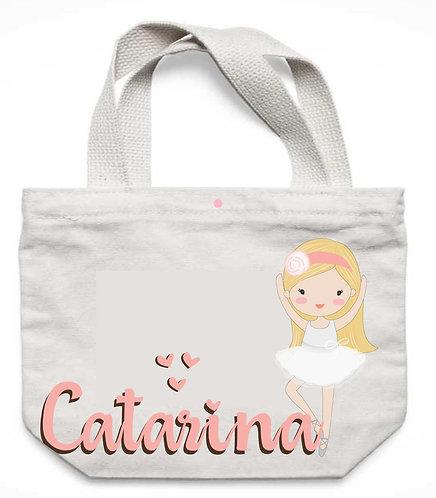 Sacola de Tecido, Branco, Bailarina loira de cabelos loiros e o nome a ser personalizado em rosa